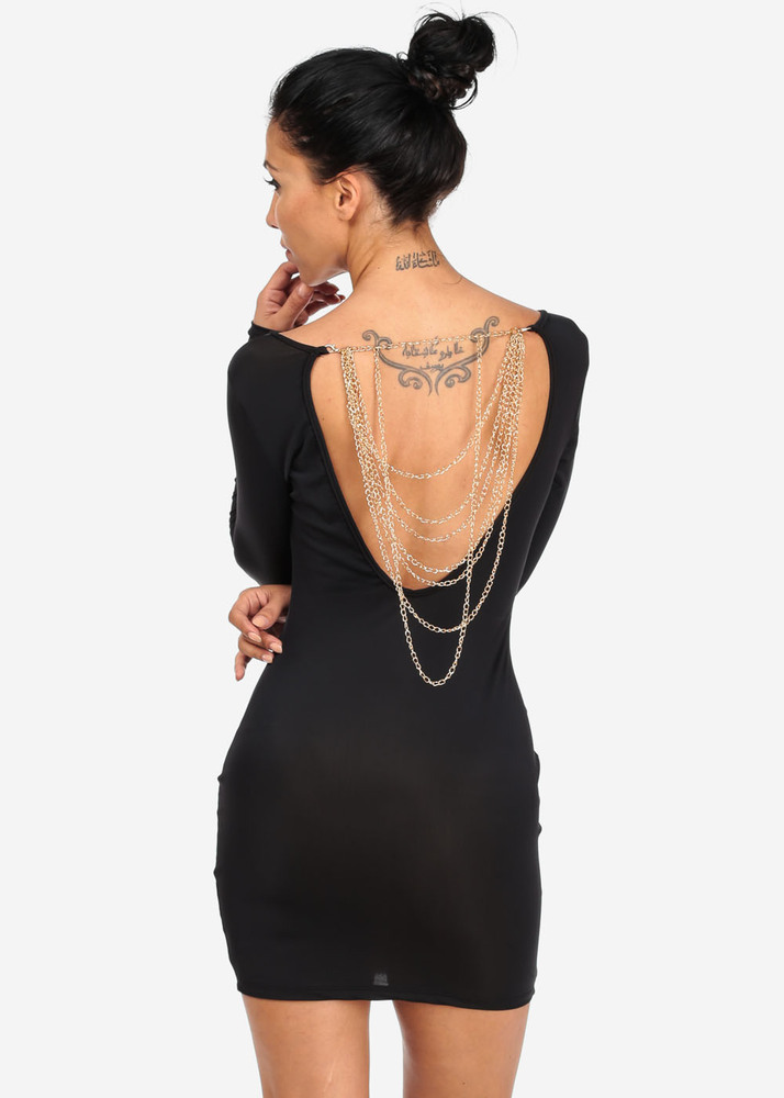 Black dress with chain design