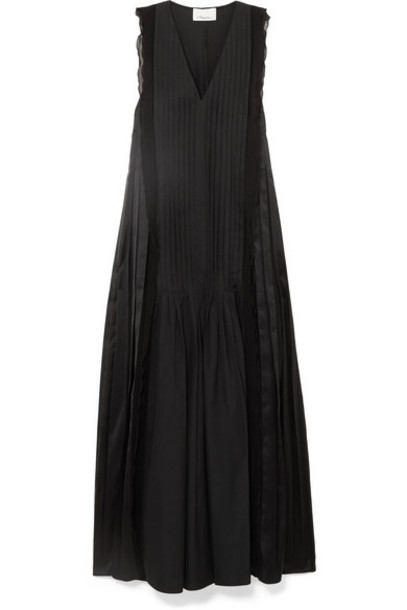 3.1 Phillip Lim - Pintucked Paneled Cotton Maxi Dress - Black