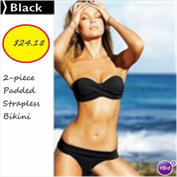 Black (Medium} 2-piece Padded Strapless Bikini on eBid United Kingdom