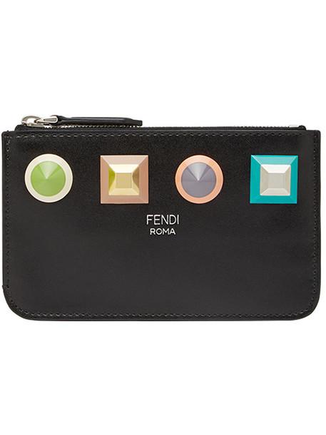 Fendi - geometric stud coin pouch - women - Cotton/Calf Leather/Polyacrylic/Acrylonitrile Butadiene Styrene (ABS) - One Size, Black, Cotton/Calf Leather/Polyacrylic/Acrylonitrile Butadiene Styrene (ABS)