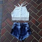 jeans,High waisted shorts,bleached shorts,acid wash jeans,bleached denim,denim,high waisted jeans,high waisted denim shorts,distressed high waisted jeans,cute jeans,cute too,fringed top,cute top,fringe lace,white lace top,shirt