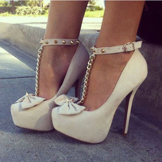 shoes studded high heels high heels beige shoes beige bows bow shoes studs studded shoes t-strap heels