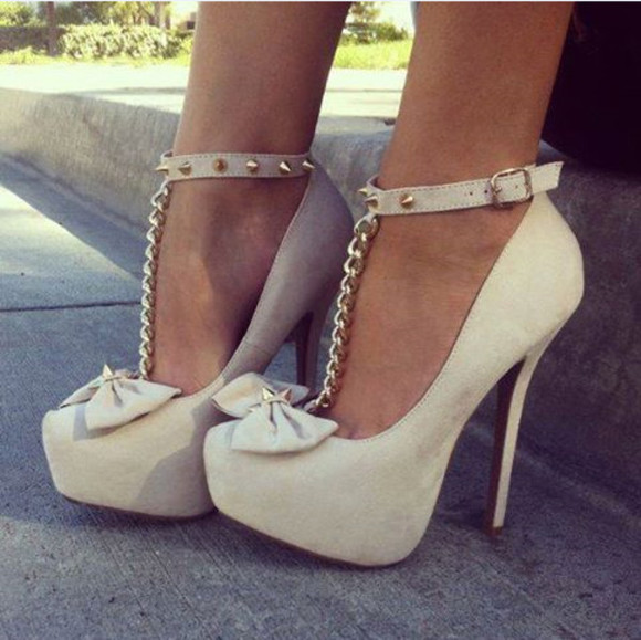shoes high heels bow studded high heels beige shoes beige bow shoes studs studded shoes