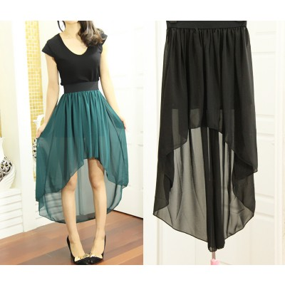 Irregular solid color dovetail chiffon skirt