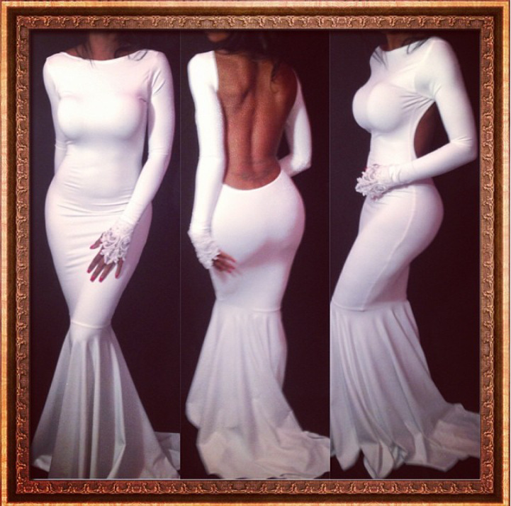 2014 new fashion white red women maxi dress evening party long backless women's summer sexy bodycon splicing bandage dress w033