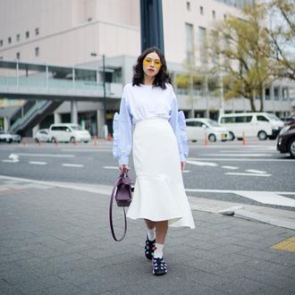 olivia lazuardy blogger top skirt bag shoes midi skirt white skirt handbag purple bag spring outfits blouse