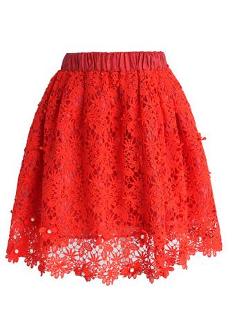 skirt chicwish chicwsih.com crochet skirt red skirt chicwish.com floral skirt