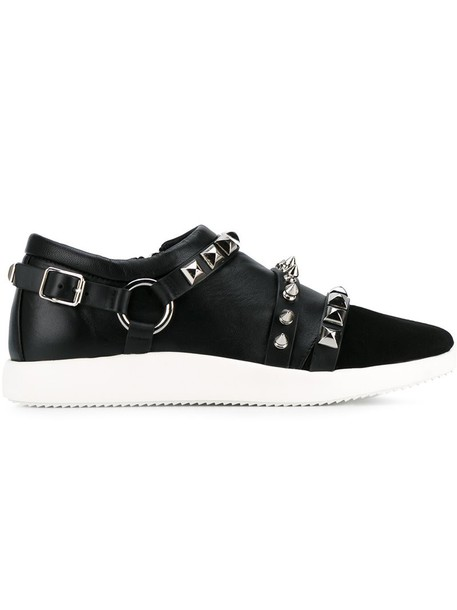 studded metal women sneakers leather black shoes