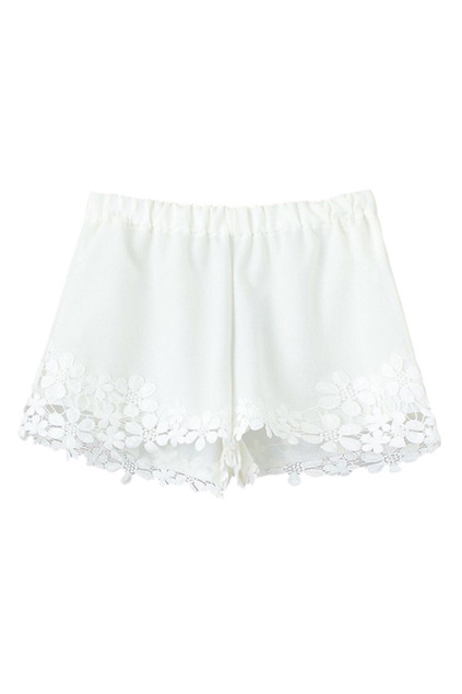 Lace Panel Elastic Sheer White Shorts | Pariscoming