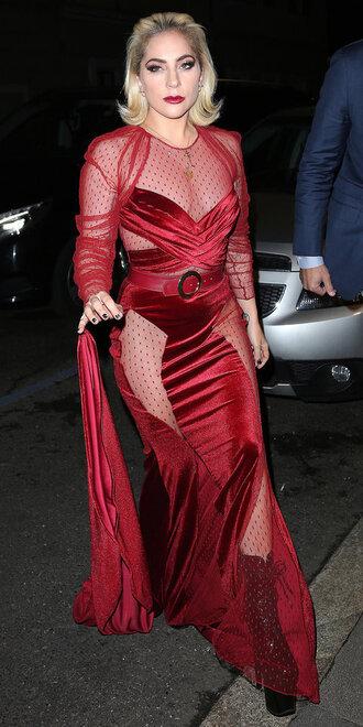 dress red dress red lace dress maxi dress gown lady gaga