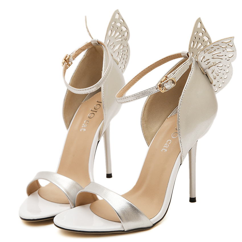 New 2015 Women Butterfly Sandals Wedding Shoes High Heel Sexy Party Elegant Bridal Pumps Pink Golden