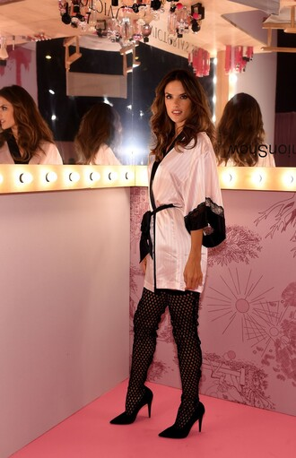 shoes boots over the knee boots alessandra ambrosio victoria's secret wrap coat