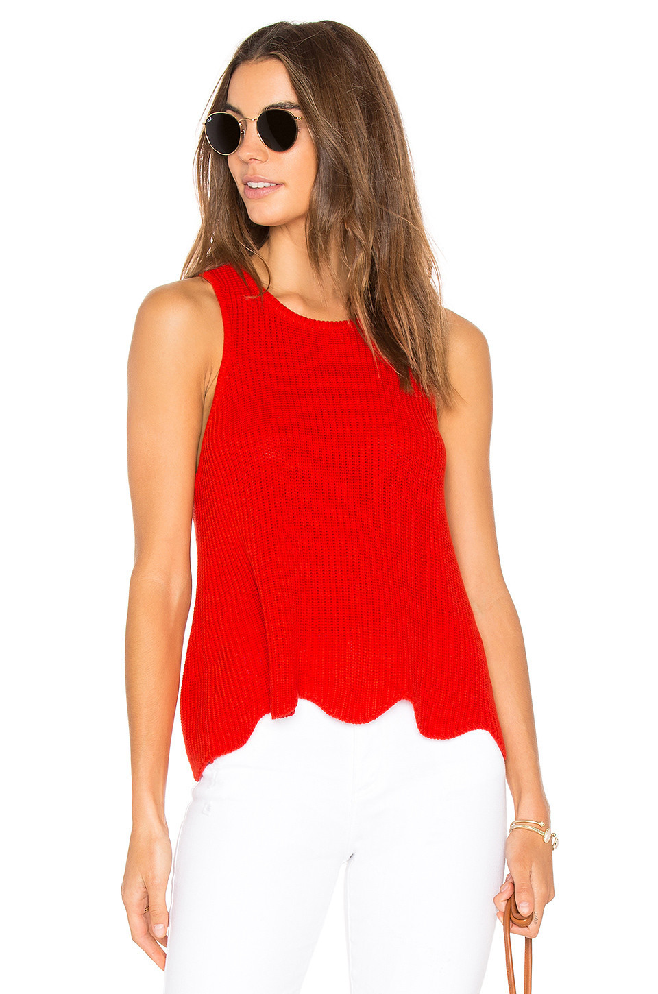 Autumn Cashmere Scallop Shaker Tank in red