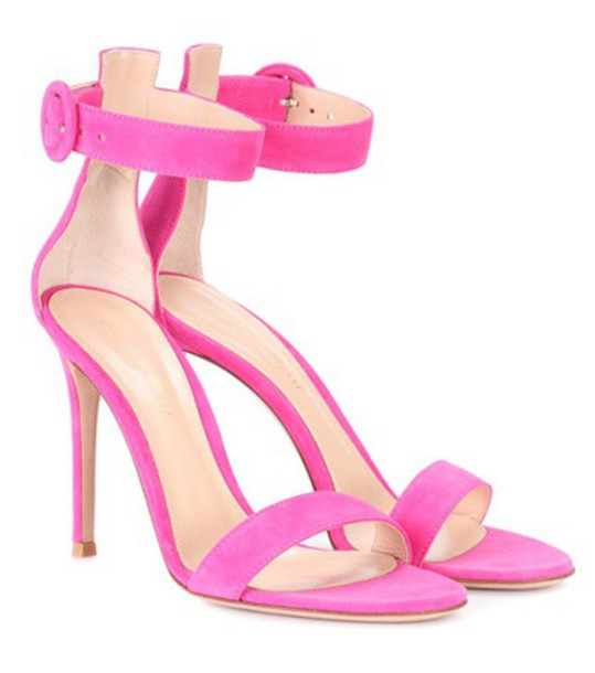 Gianvito Rossi sandals suede pink shoes