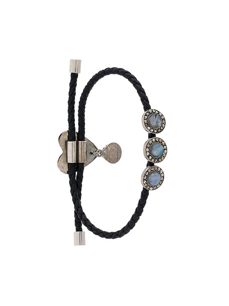 heart women embellished leather black jewels