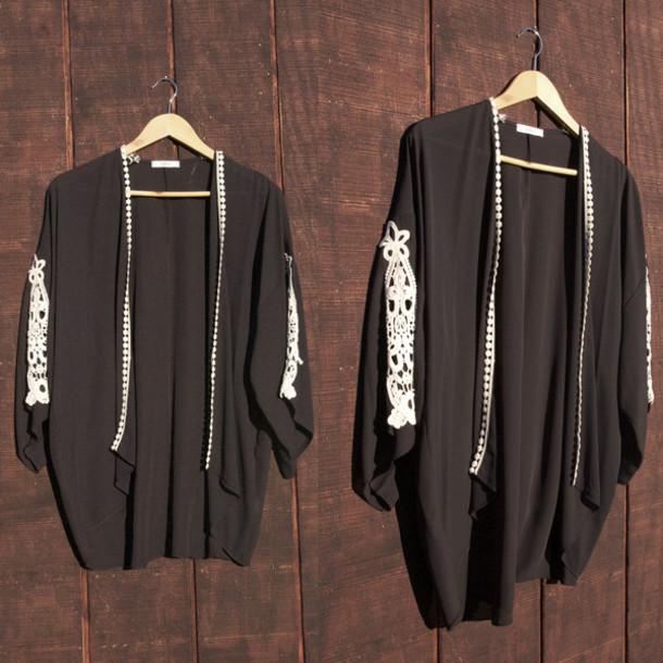 cardigan kimono black crochet