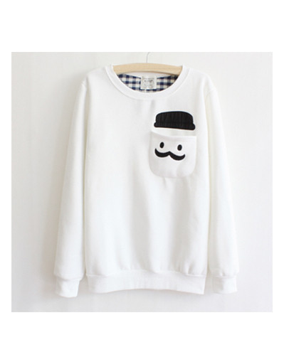 Men's mustache sweater pullover shirt pocket cotton fleece warm