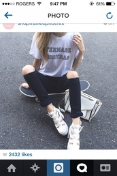 jeans,shirt,shoes,teenagers,teenager tee,teenage dirtbag,ripped,knee,skateboard,crossbody bag,skater,teenage dirt bag,quote on it,bag,t-shirt,one direction,top,grunge,black,summer outfits,teenager dirtbag,love,pretty,beautiful,white,sandals,heels,chunky sole,chunky heels,high heels,wedges,tumblr,tumblr sandals,tumblr shoes,crocodile,white top,boho,cool,perf,cute,aesthetic,outfit,thin,magical,girl,ripped jeans,instagram