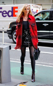 skirt,top,scarf,fall outfits,elsa hosk,tights,mini skirt,model off-duty,streetstyle