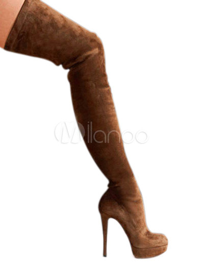Sexy brown almond toe nubuck woman's over the knee boots
