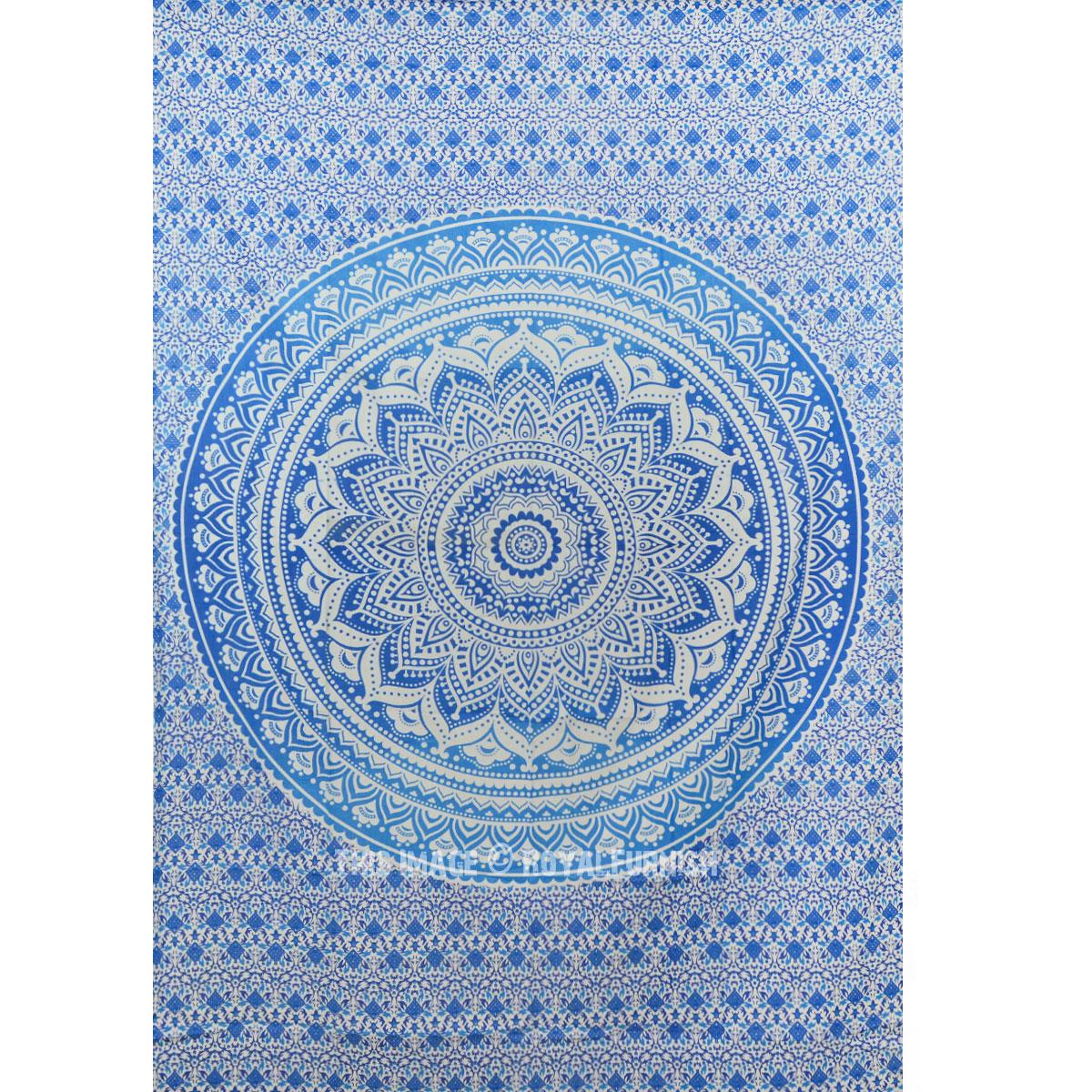 Blue multi elephants sun ombre mandala wall tapestry royalfurnish - Small Blue Goddess Ombre Mandala Tapestry Floral Wall Hanging Bedspread Royalfurnish Com
