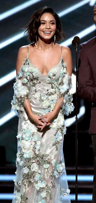 dress gown prom dress vanessa hudgens billboard music awards plunge dress floral flowers