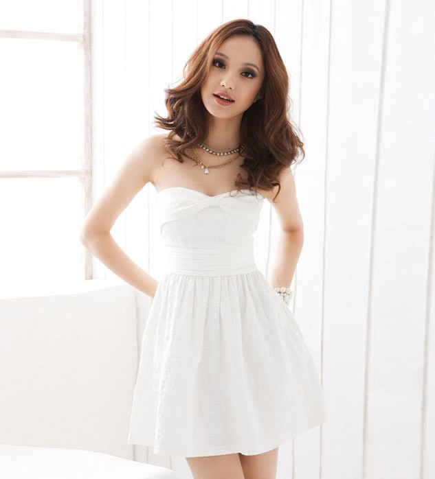 White Strapless Lace-up Backless Lace Dress @ Dresses,Casual Dress ...