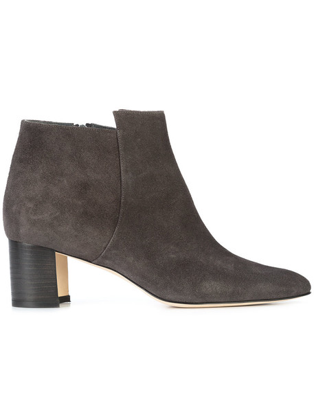 Manolo Blahnik women ankle boots leather suede grey shoes