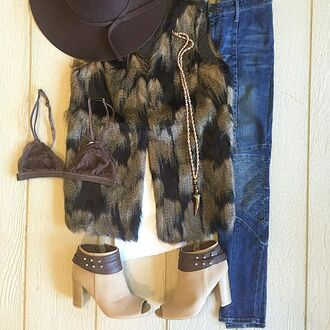 cardigan fur vest brown fur vest long fur vest faux fur faux fur vest beaded necklace boho cute fur vest faux fur brown vest bralette lace bra floppy hat moto jeans skinny jeans divergence clothing denim streetstyle streetwear celeb fashion celebrity style celebstyle for less