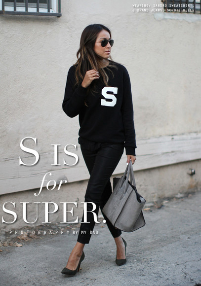 sincerely jules sweater jeans shoes bag sunglasses