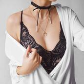 jewels,tumblr,gold jewelry,gold necklace,necklace,jewelry,choker necklace,black choker,wrap choker,underwear,black underwear,lace lingerie,sexy lingerie,lingerie,black lingerie,shirt,white shirt,wrap necklace,layered