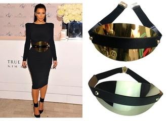belt waist belt stretchable black and gold metallic buckle belt high waist belt cummerbund gold kim kardashian