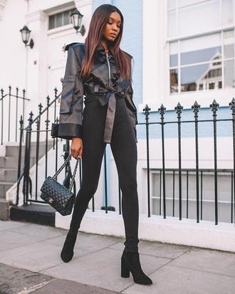 jeans skinny jeans black skinny jeans black jeans jacket black jacket bag black bag boots all black everything popsugar fashion blogger