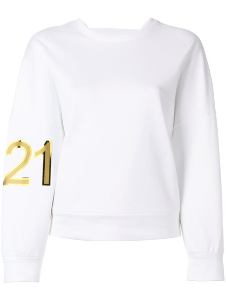 No21 sweatshirt women white cotton sweater