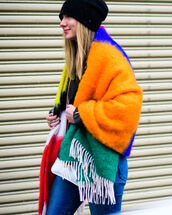 scarf,tumblr,nyfw 2017,fashion week 2017,fashion week,streetstyle,beanie,black beanie,striped scarf,denim,jeans,winter outfits,winter look