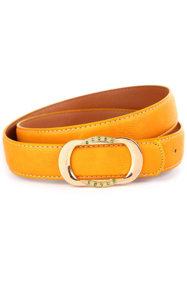 Yellow Faux Leather Rhinestone Buckle Belt