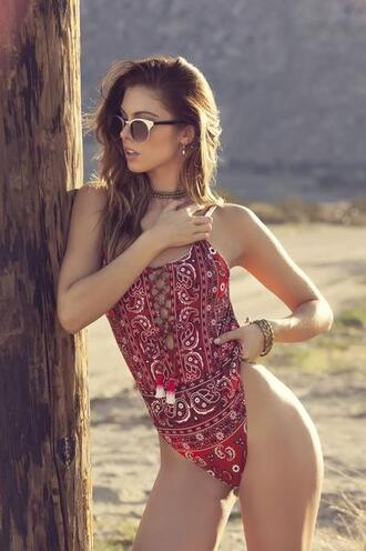 swimwear agua bendita cheeky festival one piece red bikiniluxe