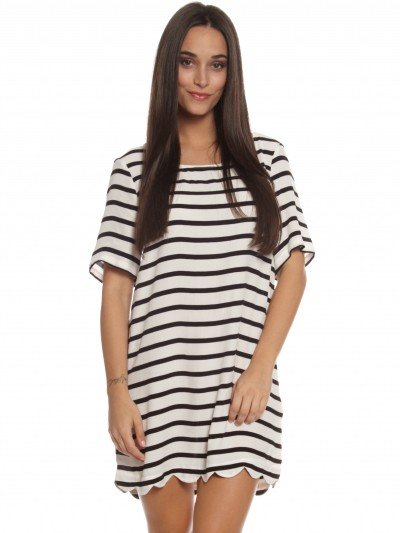 Crossed Out T-Shirt Dress in Black & White Stripe - Glue Store
