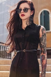 dress,chiffon,button up,black dress,black,tattoo,clothes,little black dress,emo,goth,tumblr girl,tumblr clothes,so awesome,grey,fluffy,cool,90s style,pastel goth,blouse,black blouse,black chiffon dress