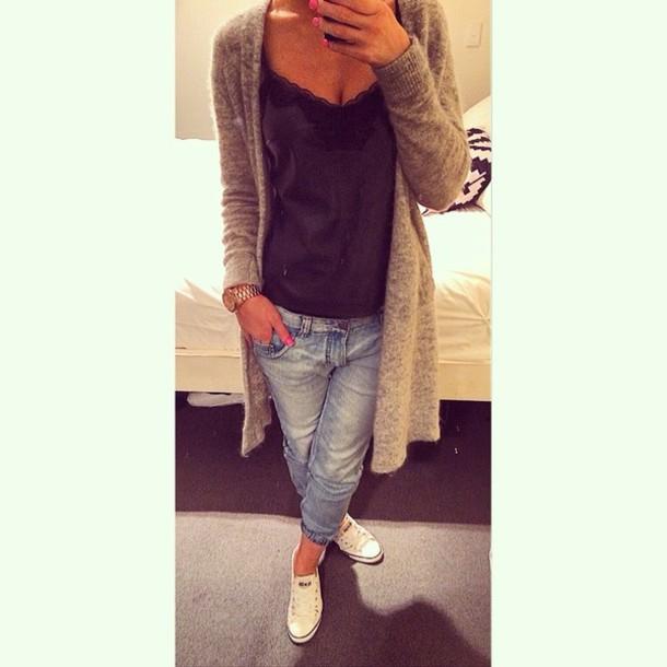 coat, sportsgirl, converse, boyfriend jeans - Wheretoget