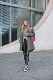 coat,tumblr,green coat,parka,pants,black pants,black leather pants,leather pants,turtleneck sweater,turtleneck