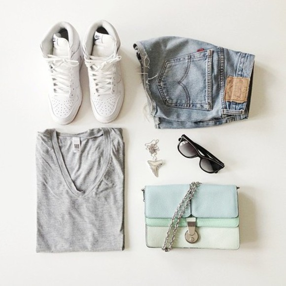 rayban bag shorts light blue shirt necklaces black sunglasses jewels shoes