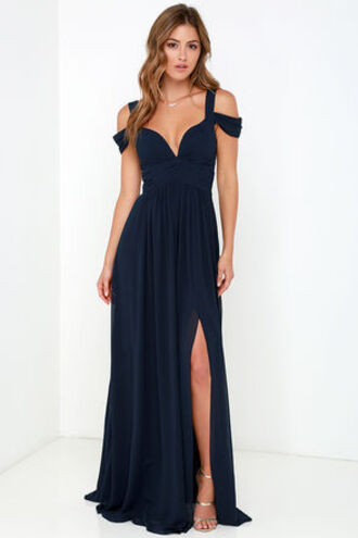 dress blue dress maxi dress slit dress off the shoulder elegant dress