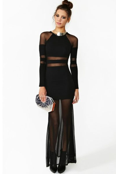 novelty dress bohemian dress Sexy Black Sheer Lace Mesh Panels Long Sleeves Sexy Shadow Stripe Party Long Maxi Dresses LC6191 -in Dresses from Apparel & Accessories on Aliexpress.com