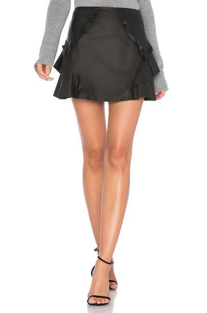 DEREK LAM 10 CROSBY skirt mini skirt mini ruffle leather black