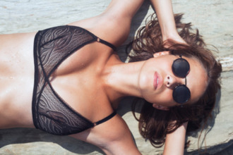 swimwear mesh black bikini bra beach sunshine