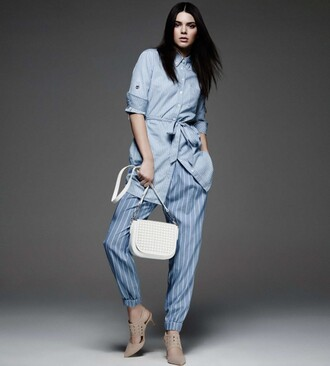 tunic dress tunic spring outfits kendall jenner blue light blue pastel striped pants white bag