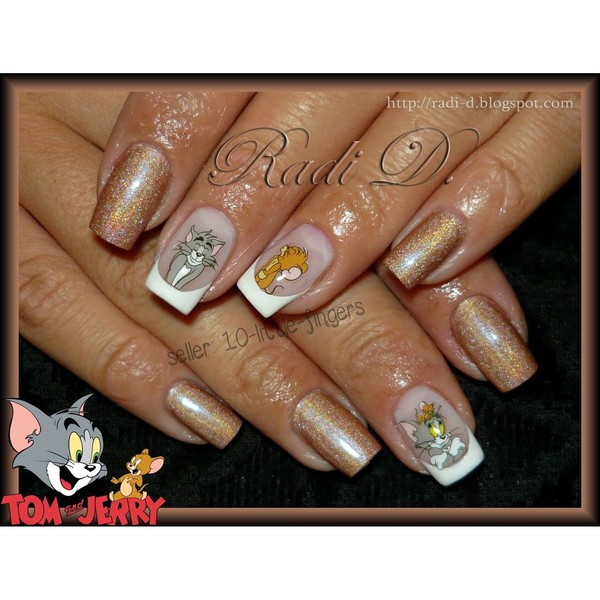 nail accessories nails nails decoration stickers cartoon tom jerry cats silver diy french