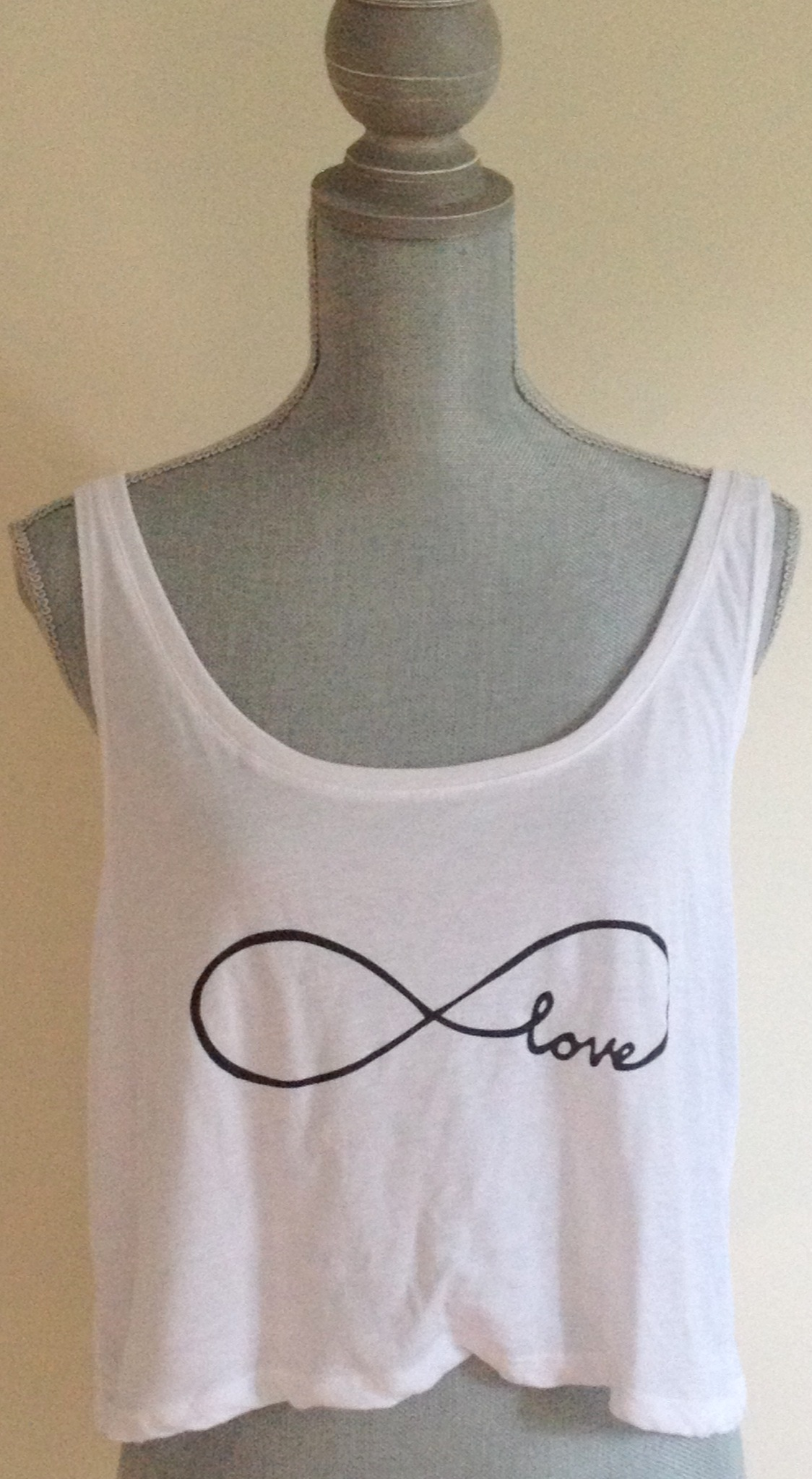 White Tank Top - Infinity Love Crop Top | UsTrendy