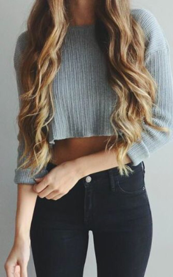 Cropped Sweater Grey Sweater Black Jeans Shirt Sweater